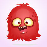 Vector cartoon Halloween monster. Red furry flying monster with big eyes. Red hairy monster vector icon. Red fluffy funny ghost game character. Cute red yeti Stock Images