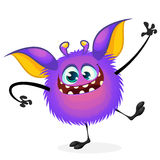 Vector cartoon Halloween monster waving. Furry purple round shaped monster Stock Images