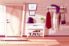 Vector cartoon hallway with furniture. Indoor background. vector illustration