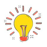 Vector cartoon halogen lightbulb icon in comic style. Light bulb vector illustration