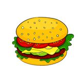 Vector cartoon hamburger icon Stock Images