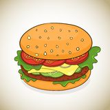 Vector cartoon hamburger icon Royalty Free Stock Photography