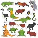 Vector cartoon hand drawn australian animals Stock Photography