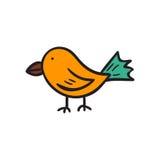 Vector cartoon hand drawn bird icon, sticker Stock Images