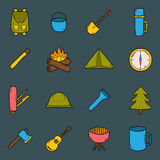 Vector cartoon hand drawn camping icons Royalty Free Stock Photography