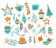 Vector cartoon hand-drawn collection of traditional Christmas set, isolated on white background. Royalty Free Stock Photos