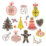 Vector cartoon hand-drawn collection of traditional Christmas set, toy balls, bow, gingerbread man, tree, star and heart. Stock Images
