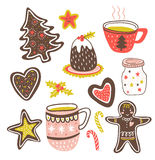 Vector cartoon hand-drawn collection of traditional yummy Christmas desserts Stock Photo