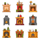 Vector cartoon hand drawn fireplaces icon set. Vector cartoon illustration with cute hand drawn set of fireplaces. Different types of fireplace: classic, retro Stock Image