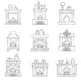 Vector cartoon hand drawn fireplaces icon set. Vector cartoon illustration with cute hand drawn set of fireplaces. Different types of fireplace: classic, retro Stock Photography