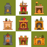 Vector cartoon hand drawn fireplaces icon set. Vector cartoon illustration with cute hand drawn set of fireplaces. Different types of fireplace: classic, retro Stock Images