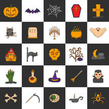Vector cartoon hand drawn Halloween icons Royalty Free Stock Images
