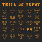 Vector cartoon hand drawn Halloween scary faces Stock Image