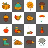 Vector cartoon hand drawn icons Royalty Free Stock Images