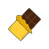 Vector cartoon hand drawn isolated chocolate bar Stock Images