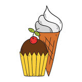 Vector cartoon hand drawn muffin and ice cream Stock Photography