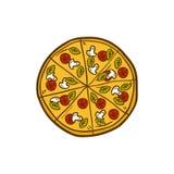 Vector cartoon hand drawn pizza logo illustration Stock Photography