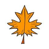 Vector cartoon hand drawn yellow autumn leaf Stock Photography