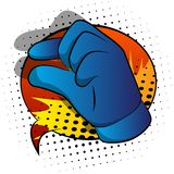Vector cartoon hand gesturing a small amount. Illustrated hand sign on comic book background stock illustration