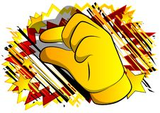 Vector cartoon hand gesturing a small amount. Illustrated hand sign on comic book background vector illustration