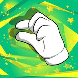 Vector cartoon hand gesturing a small amount. Illustrated hand sign on comic book background royalty free illustration