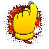 Vector cartoon hand showing invitation sign. Illustrated hand sign on comic book background royalty free illustration