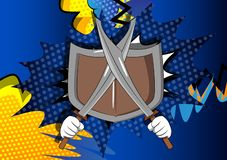 Cartoon hands holding two swords with shield. stock illustration