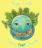 Vector cartoon Happy Earth with trees and animals. Vector illustration of Happy Green Earth embracing animals. Clean planet with animals, trees and people. All Stock Image