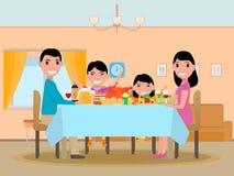 Vector cartoon happy family festive dinner table. Vector illustration cartoon happy family at festive dinner table. Parents and kids are sitting at a table with Stock Photos