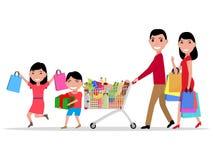 Vector cartoon happy family shopping supermarket Royalty Free Stock Photography