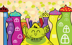 Vector cartoon happy owl in the fairy town Stock Image