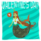 Vector cartoon Happy valentine's day. Flat greeting card. For game presentation, user interface tablet, smart phone. With cute mermaid Stock Photo