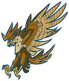 Vector Cartoon Hawk Eagle or Falcon Diving or Swooping Stock Photo