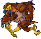 Vector Cartoon Hawk Eagle or Falcon Mascot Running. Vector cartoon clip art illustration side view of a tough muscular hawk, falcon, or eagle mascot running stock illustration