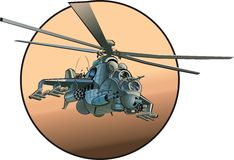 Vector cartoon helicopter. Vector cartoon russian strike helicopter Mi-24 Hind Available AI-10 vector format Stock Image