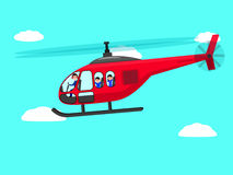 Vector cartoon helicopter people flying sky Stock Image