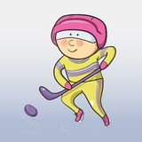 Vector cartoon hockey player Stock Photography