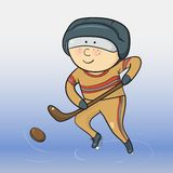 Vector cartoon hockey player Stock Photos