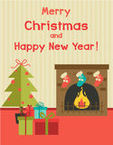 Vector cartoon holiday illustration with fireplace, new year tree and presents under it. Christmas greeting card or invitation design Stock Images