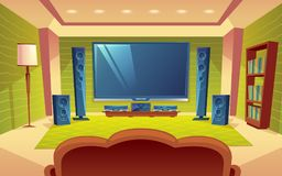 Vector cartoon home theater, audio video system. With remote control inside the hall. Plasma monitor on the wall, tv, speakers, sofa, furniture. Modern interior stock illustration