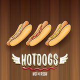 Vector cartoon hotdogs label isolated on wooden table background. Vintage hot dog poster or icon design element Stock Photography