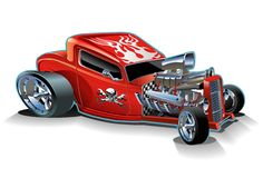 Vector cartoon hotrod Stock Images