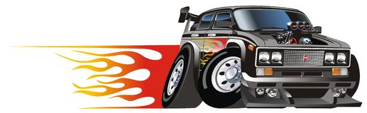 Vector cartoon hotrod royalty free illustration