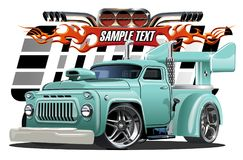 Cartoon hotrod. Vector cartoon hotrod. Available EPS-10 separated by groups and layers with transparency effects for one-click repaint stock illustration