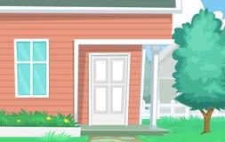 Vector cartoon house yard scene with door window wooden wall and tree Stock Photos