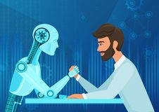 Vector cartoon Human businessman office manager man vs robot artificial intelligence pulling rope competition. Near. Future battle Vector Illustration