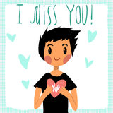 Vector cartoon I miss you flat greeting card. For game presentation, user interface tablet, smart phone. With cute boy Royalty Free Stock Photo