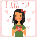 Vector cartoon I miss you flat greeting card. For game presentation, user interface tablet, smart phone. With cute girl Royalty Free Stock Photo