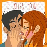 Vector cartoon I miss you flat greeting card. For game presentation, user interface tablet, smart phone. With cute kissing boy and girl vector illustration
