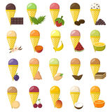 Vector cartoon ice cream balls. Vector illustration with cartoon ice cream balls in cones. Cartoon ice crean flavours. Summer sweet dessert. Big collection ice Royalty Free Stock Photography
